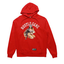 Mens Hustle Gang Cougar Pullover Hoodie Red