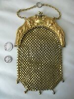 Antique GOLD G Silver Chatelaine Floral Frame 5 Tassel Chain Mail Kilt Purse