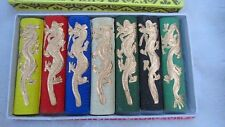 Asia old 6 colours Carved dragon chinese solid calligraphy Painting ink stick