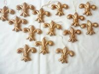"""Ornaments 14 Vintage 1990's Gold Fleru de liaghs 2 1/2"""" Size Unbreakable Plastic"""