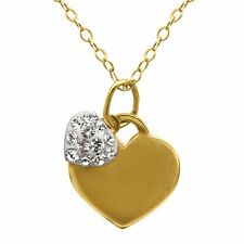 Crystaluxe Girl's Heart Pendant with Swarovski Crystals in 14K Gold over Silver