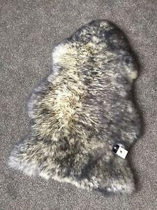 Genuine Real Sheepskin Rug in Ivory Grey Wolf  Tip Fluffy and Plush Large