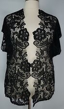 PRETTY CATO WOMEN'S BLACK SHORT SLEEVE LACE OPEN FRONT CARDIGAN PLUS Sz 14/16W