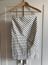 Stunning 'Marcs' Ivory White Dark Navy Black Striped Cotton Pencil Skirt - S - 8