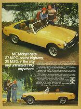1976 MG Midget yellow car 2x photo Backpackers vintage print Ad