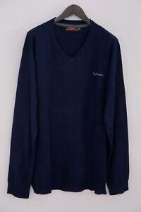 Men Pierre Cardin Jumper Blue Acrylic V Neck XXXXL XMO749