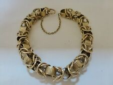 "Vintage antique 1940s 14k yellow gold chunky link bracelet 42.4g heavy 7"" Knot"
