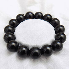 Chinese Buddha Big King Kong Black Jade beads Stretch Bracelet US SELLER