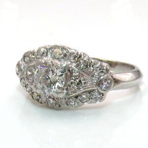 Platinum Vtg Antique Art Deco 0.50ct European Cut 0.86ctw Diamond Ring Sz 5 LJG2