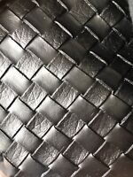 """LARGE BASKET WEAVE Tile Vinyl Upholstery Faux Leather Fabric/Black 54"""" Wide -BTY"""