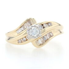 Yellow Gold Diamond Bypass Ring 14k Round Brilliant & Baguette .41ctw Engagement