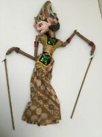 Antique Thai Indonesian Burmese Handmade Stick Puppet Gold Wood Lovely Colours