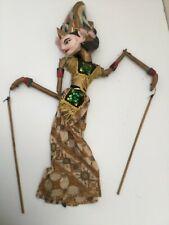 Antique Thai Indonesian Burmese Handmade Stick Puppet Gold Wood Lovely Colours