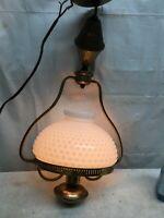 VTG White Milk Glass Hobnail Hurricane Brass Hanging Lamp  Farm House Country
