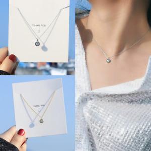 Women Gold Silver Small Evil Eye Tiny Necklace Cubic Zirconia CZ Choker Jewelry