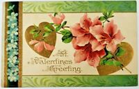 Pair of Gold Hearts Pink Flowers St. Valentines Greeting Postcard