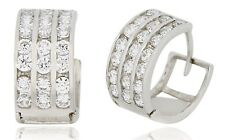 3 Row Hoop Huggie 14k SOLID White Gold Earrings 1.68 tcw Simulated  Diamond