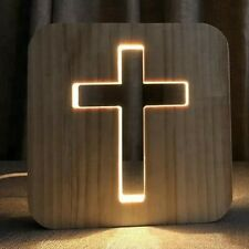 CHRIST CROSS BIBLE WOOD LAMP USB LED BEDROOM NIGHT LIGHT SUSTAINABLE OAK WOOD