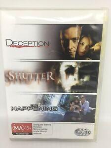 DECEPTION/SHUTTER/THE HAPPENING DVD Region 4 Movie Very Good Condition FREE SHIP