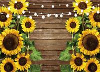 7x5ft Sunflowers String Lights Rustic Wood Plank Vinyl Backdrop Photo Background