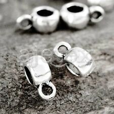 150pcs Tibetan Silver Slider Bails Connector Vintage Cylinder 9x6x4mm