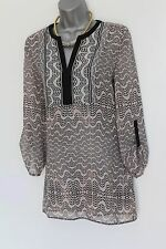 MONSOON Black Cream Print Y Neck Long Sleeve Formal Casual Shirt UK 10  38