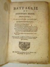 STORIA NAPOLI - MUTIO, Hieronimo / MUZIO, Geronimo: BATTAGLIE 1743 Mosca Lettere