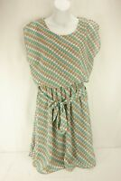 TACERA Tan Teal Blush White Polka Dot Pattern Knee Length Dress Womens Sz Medium