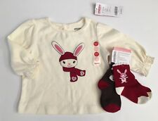 NWT Gymboree Alpine Sweetie 6-12 Months Snow Bunny Tee & Rabbit & Snowman Socks