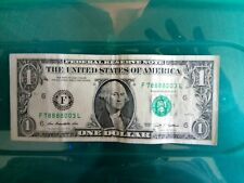 One Dollar Bill Lucky Serial Number Near Solid 8's