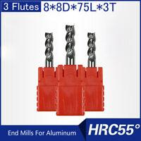HRC55 3 Flutes 8MM Solid Carbide End Mills For Aluminum L 75MM