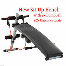 ADJUSTABLE FOLDING SIT UP ABDOMINAL CRUNCH FITNESS DUMBBELL PADDED BENCH