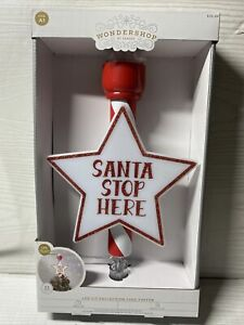 Wondershop LED Santa Stop Here Projection Christmas Tree Topper NEW IN BOX