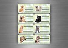 16x autocollant sticker etiquette cahier scolaire livre classeur ecole chat