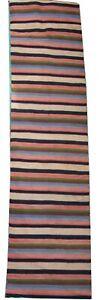 Oriental carpet handmade wool and cotton tribal Jajim / Kelim runner 13' x 3'