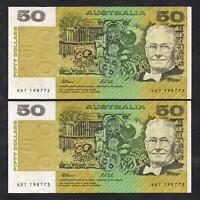 Australia R-513a. (1991) 50 Dollars - Fraser/Cole.. aU-UNC - CONSECUTIVE Pair
