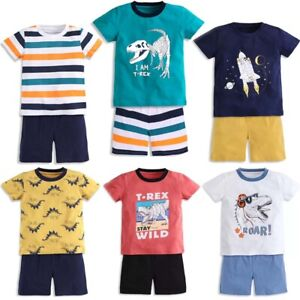 Kids Boys' 100% Cotton Outfits Toddler Dinosaur Short Sleeve T-Shirt Shorts Sets