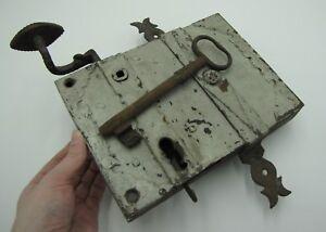 Antique Large Rare Iron Door Lock with Working Key / Door Knob / Handle