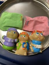 3 Vtg Hasbro Playskool Glow Worm Gloworm Glo Friends Finger Puppet Toys Pouches