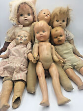 Mixed Lot 6 VINTAGE ANTIQUE DOLLS For PARTS or REPAIR Leather Metal Composition