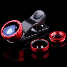 Red Fisheye Wide Angle Macro Camera Clip-on Lens kits For Cell Phone Tablet US