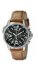 Seiko Mens Watch Analogue Solar Chronograph Classic Casual  Brown Leather SSC081