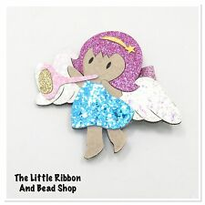 2 GIRLS LARGE BLUE< PINK GLITTER FELT ANGEL<FAIRY PINK GLITTER COVERED HAIR CLIP