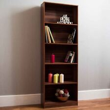 Home Discount Cambridge 5 Tier Extra Large Bookcase Walnut Wooden Shelving Unit