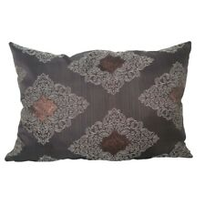 "Satin L.Brown/Flowers-copper 15x22"" Decorative/Throw Pillow Case / Cushion Cover"
