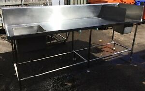 Commercial Cafe Restaurant Stainless Twin Divided Hand Sink & Wash Up Sink