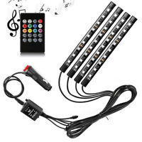 4 pcs 9 LED Car Interior Atmosphere RGB LED Strip Light Music Remote Control