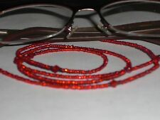 """Eyeglass Chain~Silver Lined Red & Black~28""""Crystal Accents~NEW~ Buy 3 SHIP FREE"""