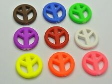 50 Mixed Neon Beads Acrylic Peace Sign Charms Beads 20mm Rubber Tone