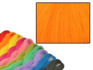 CYBERLOXSHOP PHANTASIA KANEKALON JUMBO BRAID NEON TANGERINE ORANGE HAIR DREADS